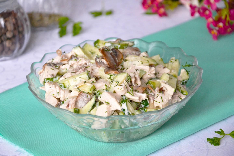 Салат из огурцов с грибами